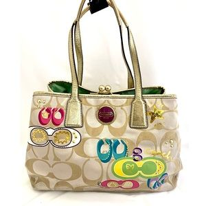 Coach Poppy Graffiti Tan Logo Shoulder Bag F17575